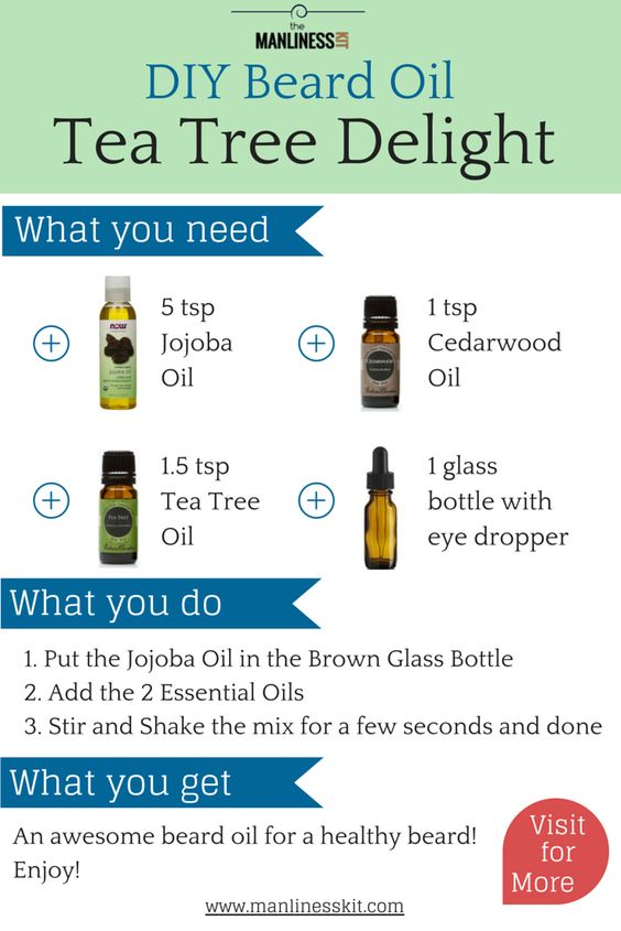 A quick and easy beard oil recipe to DIY. The Tea Tree Delight is a beard oil recipe that makes your beard soft and smells amazing. Please visit for information on how to DIY | http://manlinesskit.com/diy-how-to-make-beard-oil-quick-easy-recipes |   #beards #beardoil #beard #oil #diy #teatreedelight #carrieroils #essentialoils