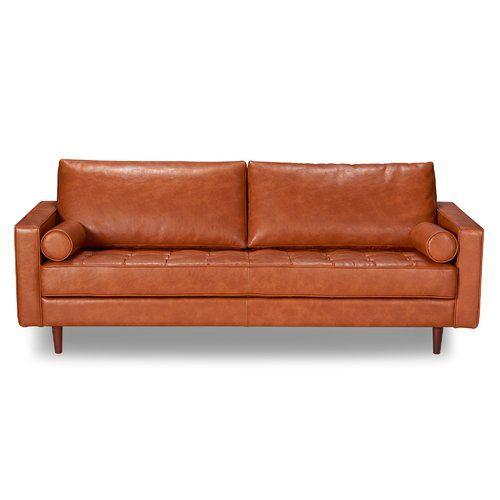 Trent Austin Design Bombay Leather Sofa Reviews Wayfair Mid Century Modern Leather Sofa Modern Leather Sofa Leather Sofa