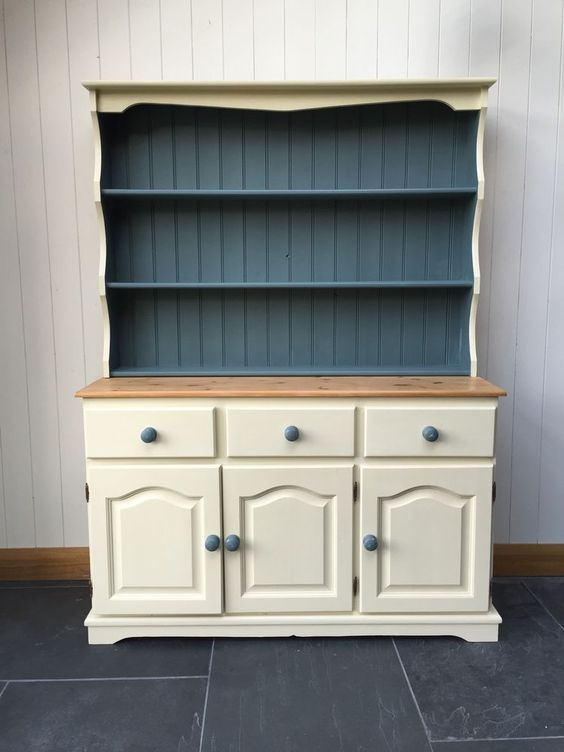 Stunning Large Solid Pine Painted Farmhouse Welsh Dresser ...