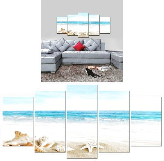 Home Decor Beach Painting Framed Canvas Wall Paintings landscape Art