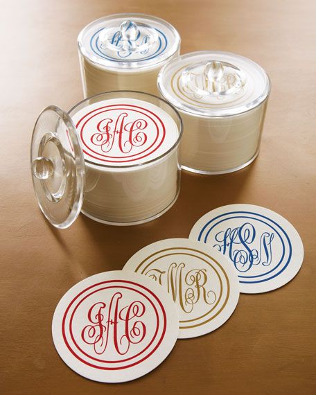 Disposable monogram coasters, what a great gift!