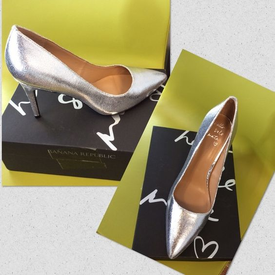 "Banana Republic ""Delphine"" Pump New in box, beautiful silver pump, great for any fancy occasion . Banana Republic Shoes Heels"