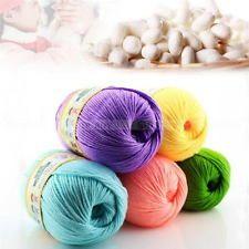 50g 1 Novelo de seda natural de algodão Fio macio Suéter Bebê Tricô Feito À Mão…