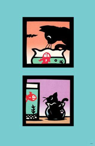 Naughty Kitty in Fish Bowl by Ryo Takagi