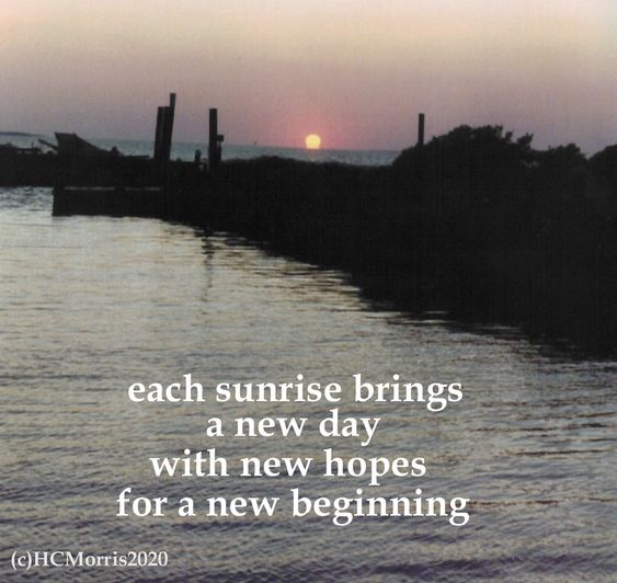 image of an ocean sunrise with words