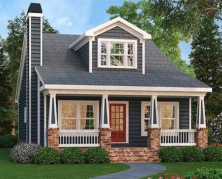 Architectural Designs Craftsman Bungalow Plan 75499GB gives you 3 beds plus a bonus room. The dormer - centered over the porch - lets light into the bonus room. Another great feature is the front-to-back views from inside the front door!:
