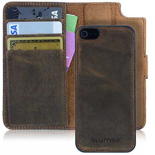 Blumax iPhone 5/5s/SE Echt Ledertasche mit abnehmbare Leder Backcover mit Magnet