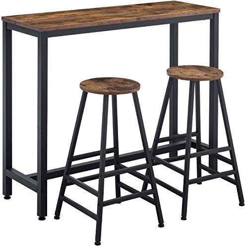 The Amoak Bar Table Set 3 Bar Table 2 Bar Stools 47 Pub Dining Height Table Kitchen Counter Bar Chairs Industrial Kitchen Living Room Party Room Retro Br In 2020 Bar