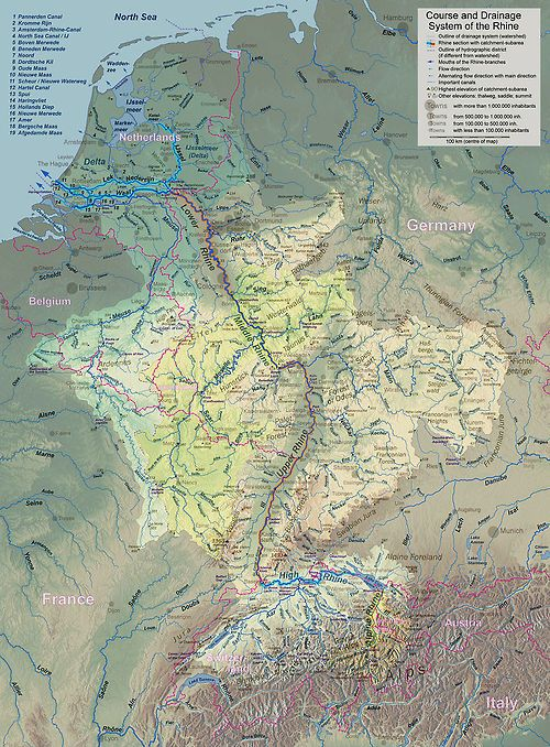 Topographic map of the Rhine river watershed Maps – Topographic Map of Belgium