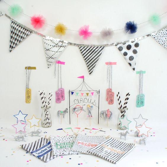 black, white, and bright circus birthday