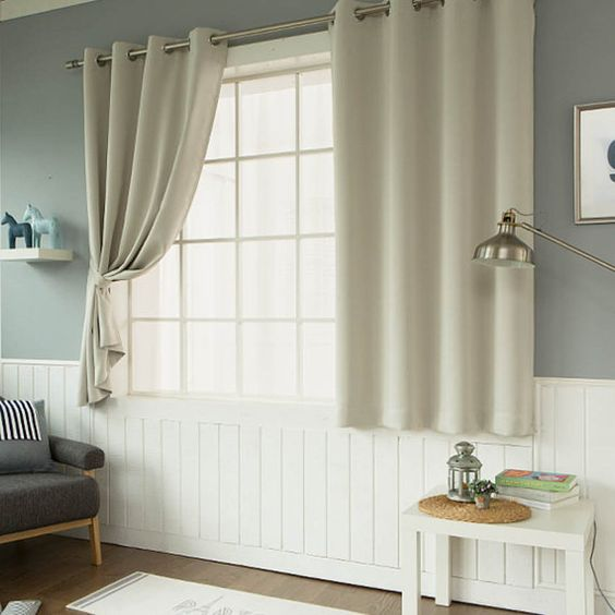 Beige Solid Blackout Curtains Eyelet Grommet Curtains Pair for ...