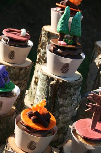 Camping Party-trail mix bar ideas, cute fondant cupcake toppers