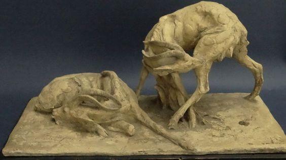 Guido Cacciapuoti (1892-1953) - Skulptur, Paar Gazellen - Catawiki