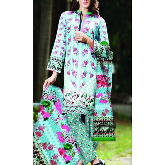 Sea Green Printed Cambric Dress Contact: (702) 751-3523 Email: info@pakrobe.com Skype: PakRobe