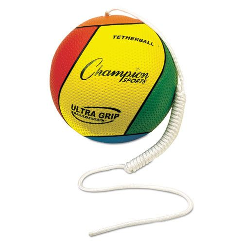 """Ultra Grip Tether Ball, 5"""" Diameter, Laminated Rubber, Yellow/green/blue/red"""