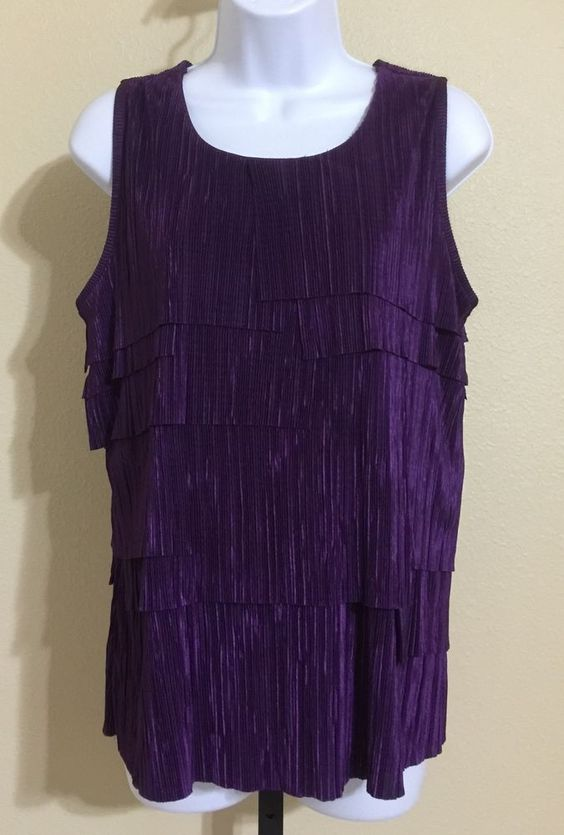 Nue Options Women's Purple Tiered Crinkle Look Sleeveless Blouse Size L NWT #NueOptions #Blouse #Casual