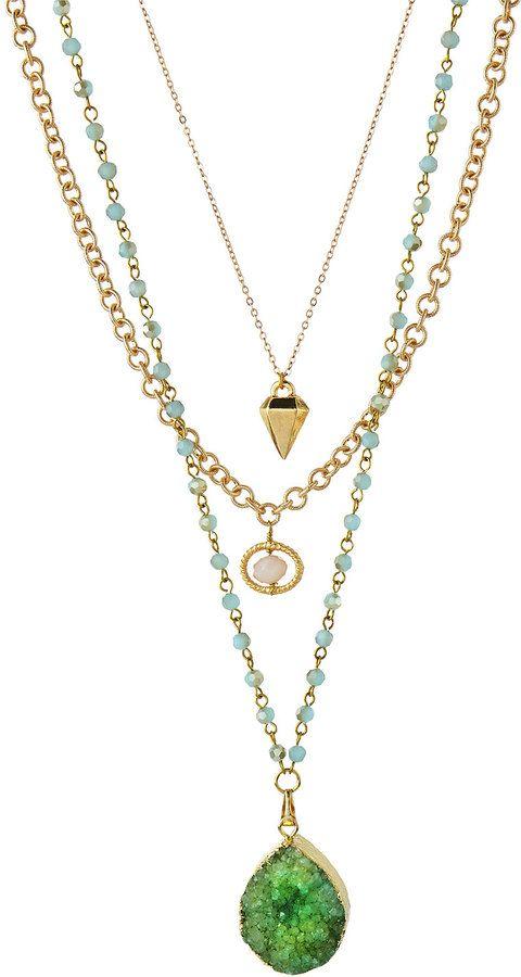 Multi-Strand Druzy Pendant Necklace