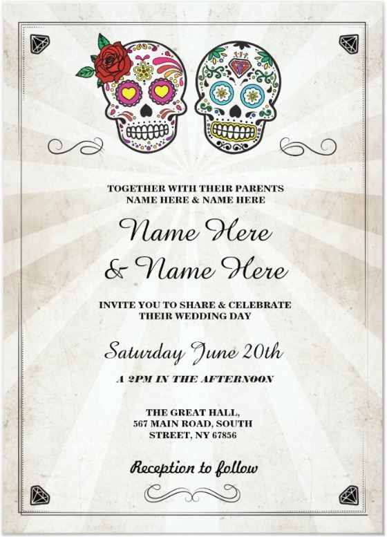 Skull Wedding Halloween Sugar Gothic Skulls Invite Zazzle Com Halloween Wedding Invitations Halloween Wedding Wedding Invitations Rustic Vintage