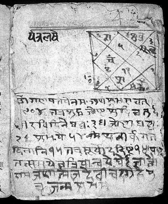 Una carta astrológica del manuscrito hindú 341, folio 4a, autor desconocido