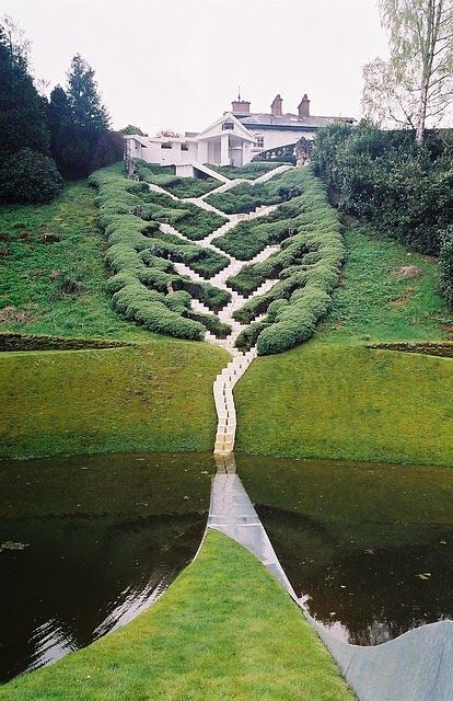 The Garden of Cosmic Speculation, designed by Charles Jencks in Portrack House near Dumfries, Scotland.