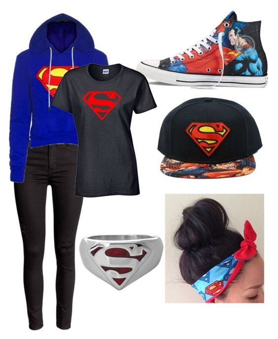 """""""Superman"""" by love-me-you-fool on Polyvore featuring Converse, women's clothing, women, female, woman, misses and juniors"""