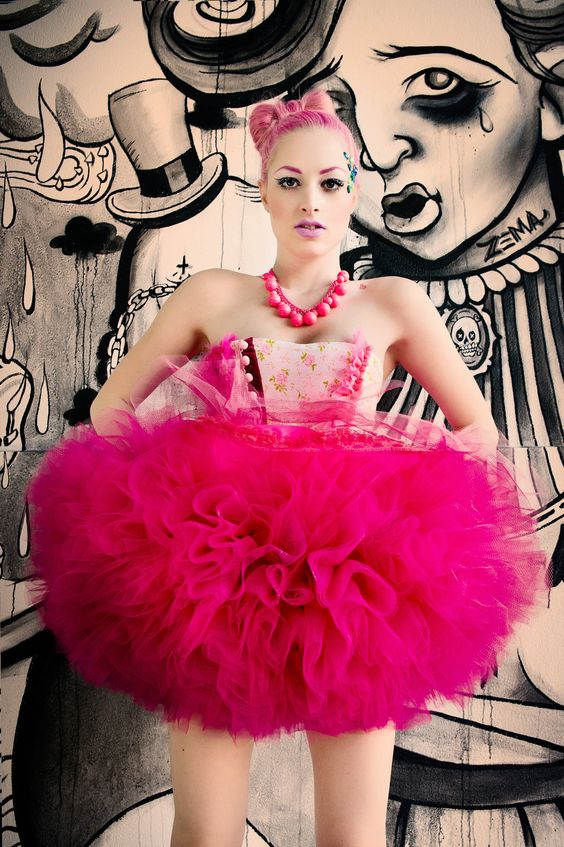 The Hunger Games Effie Trinket Cotton Candy Dream Tutu by Janice Louise Miller. $549.00, via Etsy.