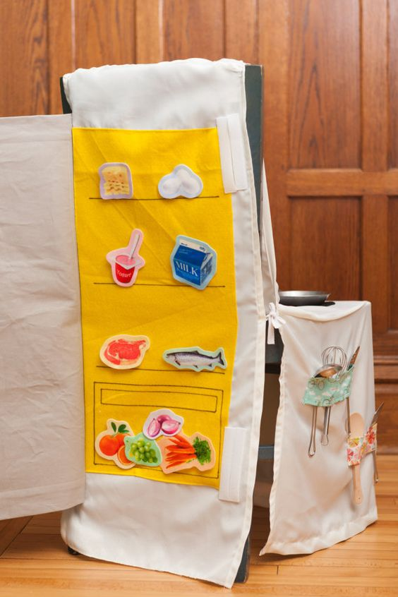 Chair Cover Play Kitchen - the Chalkboard refrigerator opens so you can stick felt food inside! From Joyful Adventures on Etsy