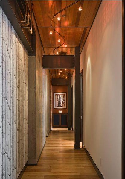 dark hallway wallpaper and track lighting http www. Black Bedroom Furniture Sets. Home Design Ideas