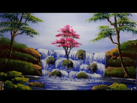 Beautiful Nature And Waterfall Painting For Beginners