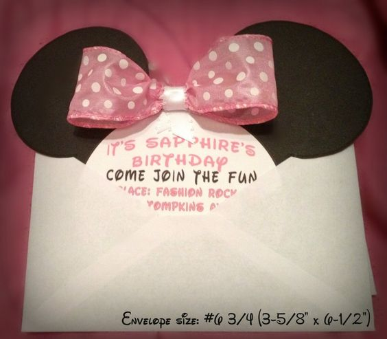 diy minnie mouse invitation with real bow + free minnie ears, Birthday invitations