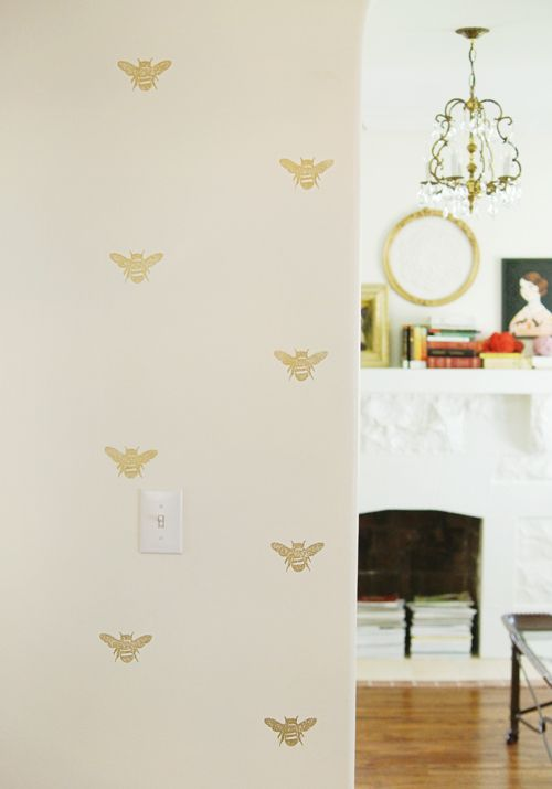 hand-stamped walls mimic wallpaper. (from the seale residence on design sponge)