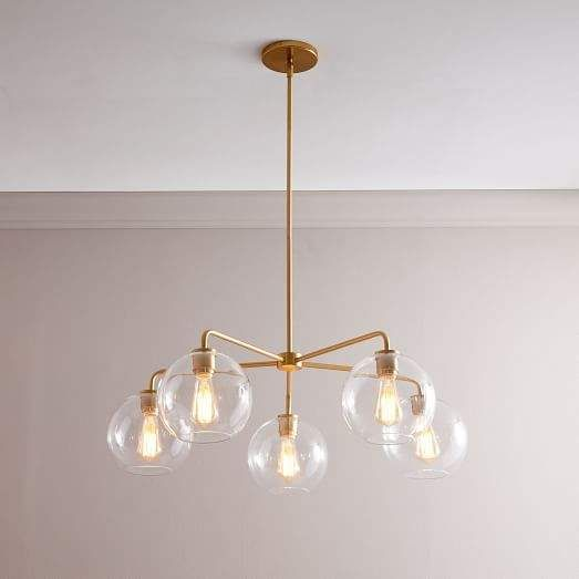 Sculptural Gl Globe 5 Light Chandelier Small Clear In