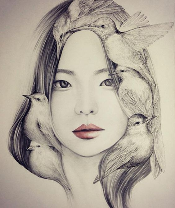Delicados dibujos a pluma y lápiz de muchachas con pájaros, por okArt