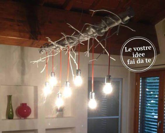Un altro fai da te dei lettori sui lampadari  il lampatronco!   Fai da te   Pinterest   Tes and     -> Lampadario Ombrello Fai Da Te