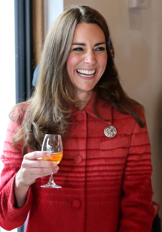 It looks like Kate approves of her whisky! Scotland, May 29, 2014