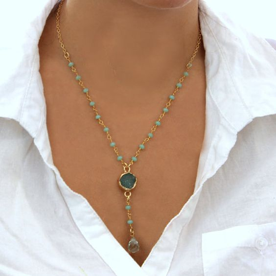 Turquoise Druzy Necklace Y Necklace Turquoise by inbalmishan