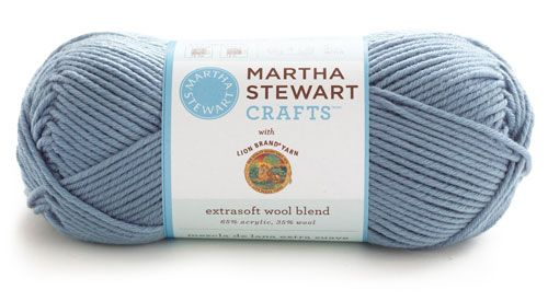 Martha Stewart Crafts Extra Soft Wool Blend Yarn from Lion Brand Yarn.  Crocheted a shell pattern scarf with this and it is fabulous.  So many pretty colors available too.