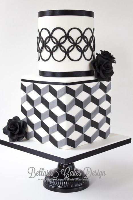 EDITOR'S CHOICE (8/13/2013) Modern black and white bridalshower cake with geometric patterns by Bellaria Cakes Design by Riany Clement  View details here: http://cakesdecor.com/cakes/78538