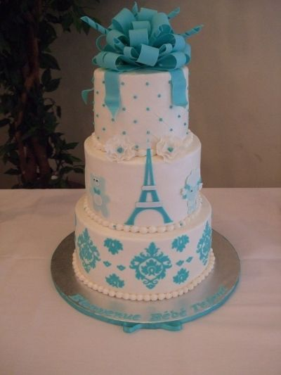"""Parisian Chic"" themed baby boy shower cake By erin12345 on CakeCentral.com"