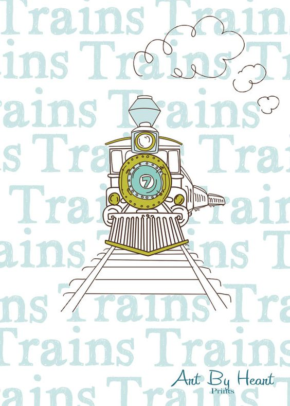 Train Printable - Nursery Art Digital File INSTANT DOWNLOAD