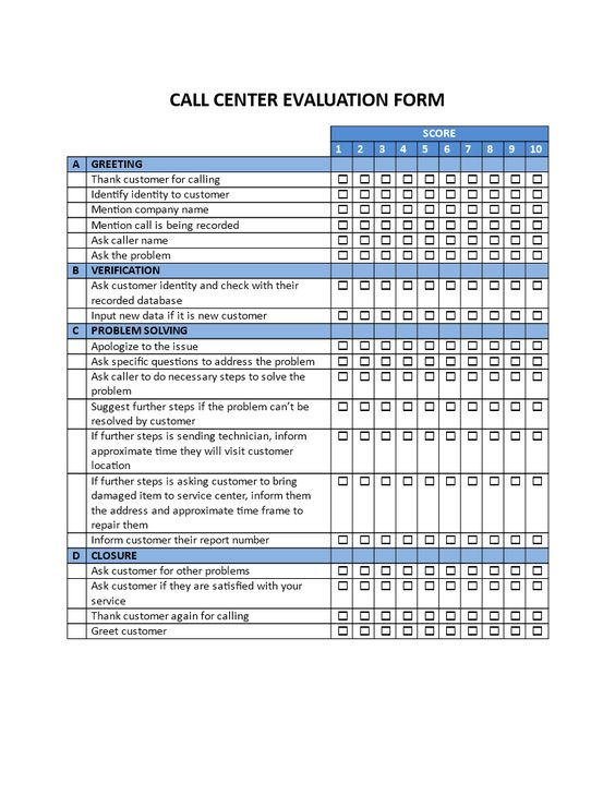 Call Center Evaluation Form - Call Center Evaluation Form - employee evaluation form template