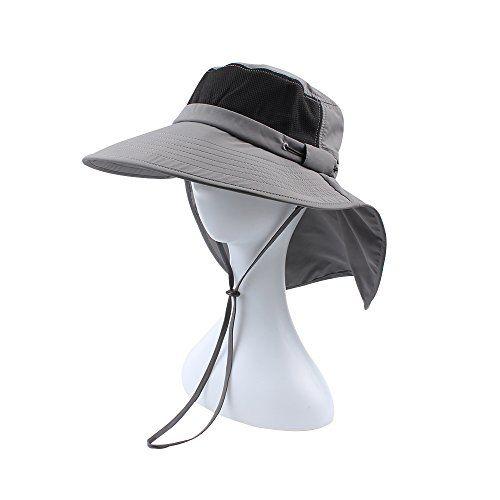 Discounted Jangannsa Men Uv50 Sun Protection Fishing Cap Women Bucket Hat Foldable Mesh Boonie With Neck Flap Wide Brim Gray Jangann Wide Brimmed Hats Fish