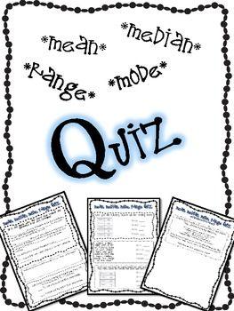Mean Median Mode Range FREE Quiz and Answer Key - Teaching With a Mountain View - TeachersPayTeachers.com