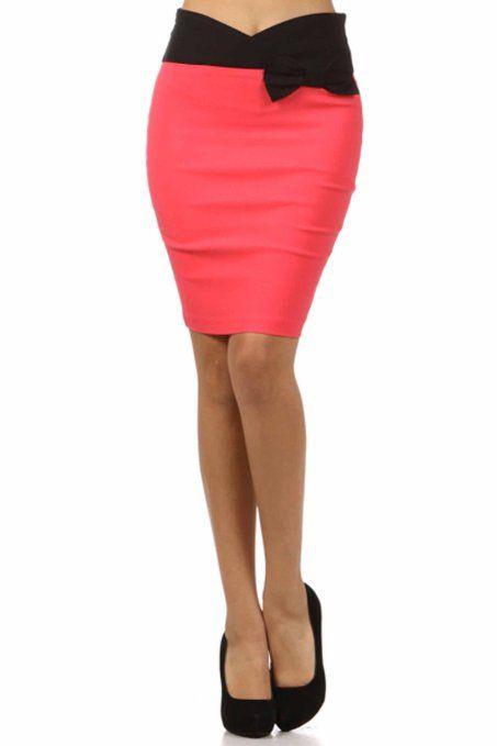 Sakkas 8641 Scallop High Waist Stretch Pencil Skirt with Bow ($21.99)