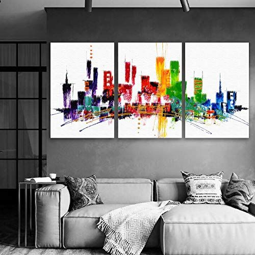3 Plane Abstract City Oil Painting For Living Room Home Art X 3 Panels Living Room Canvas Living Room Paint Living Room Art