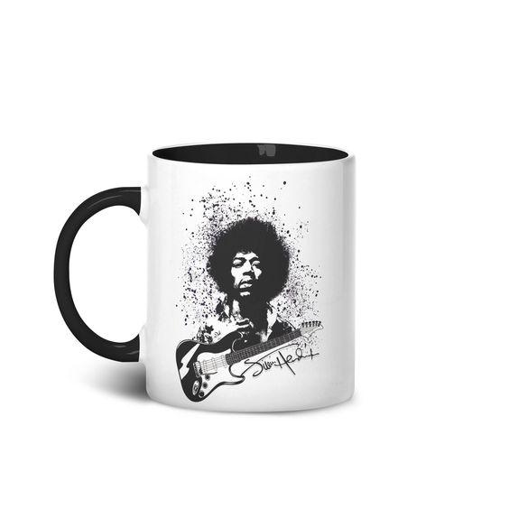 Caneca Jimi Hendrix! Estampa em homenagem a um dos deuses da guitarra!
