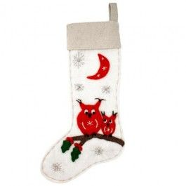 Wool Felt Christmas Stockings - Woodland Owls. Generously sized and handmade of thick wool felt. Adorable!