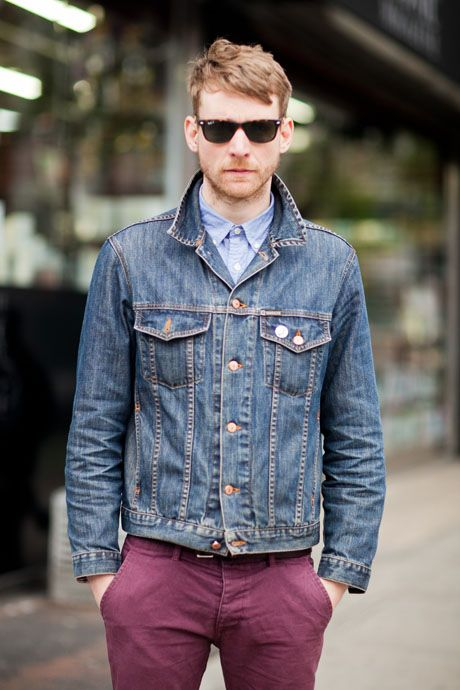 Formal denim . jean jacket , blue button up shirt , maroon chino ...