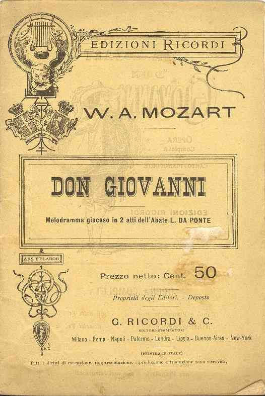 Don Giovanni is an opera in two acts with music by ...