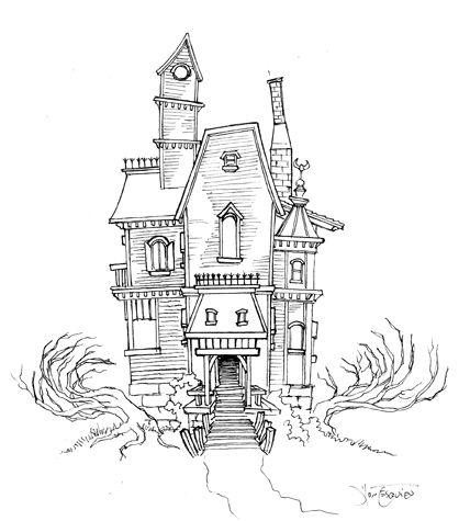 Haunted House Coloring Page Clipart Digi Stamps & Color Pages